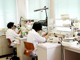 マイクロスコープを使用して精密な適合のよい技工物を作製します
